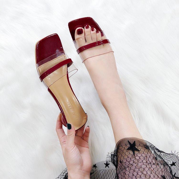 c97fa2b741959 Leisure in Chunky Heel Peep Toe Slipper women 2019 Summer New Style Korean  Style Versatile Outer