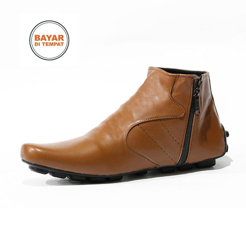 Sepatu Casual Sneakers Formal Zipper Pria Kickers Kerja Santai - Sepatu Casual Boots - Sepatu Boots Zipper - Sepatu Berkualitas Tinggi - Sepatu Murah Meriah - Seapatu Pria Boots