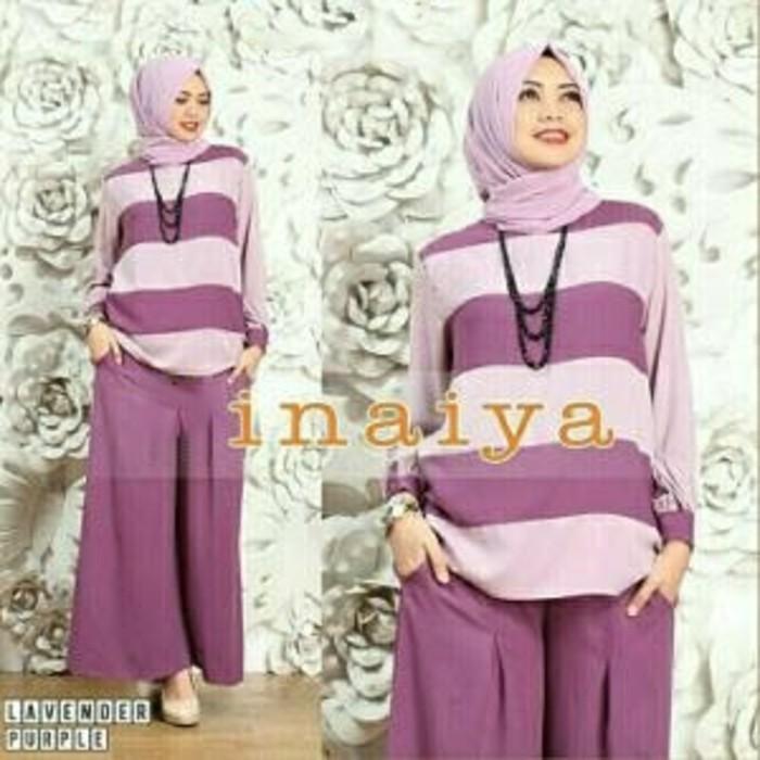 (JNH Shop)  Setelan Baju Celana Inaiya Purple Baju Muslim Gamis Fashion Lavender K
