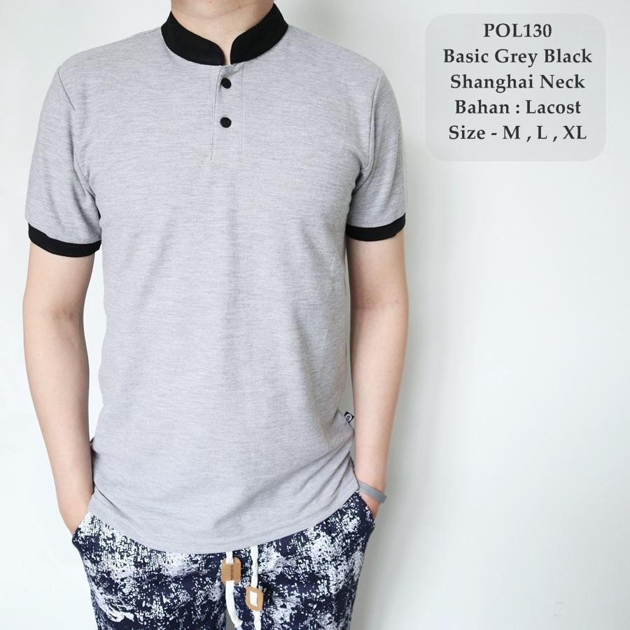 TGF Polo Kombinasi Hitam Pria/ Polo Shirt Cowok/ Kaos Sanghai Cowok / Baju Koko Polos