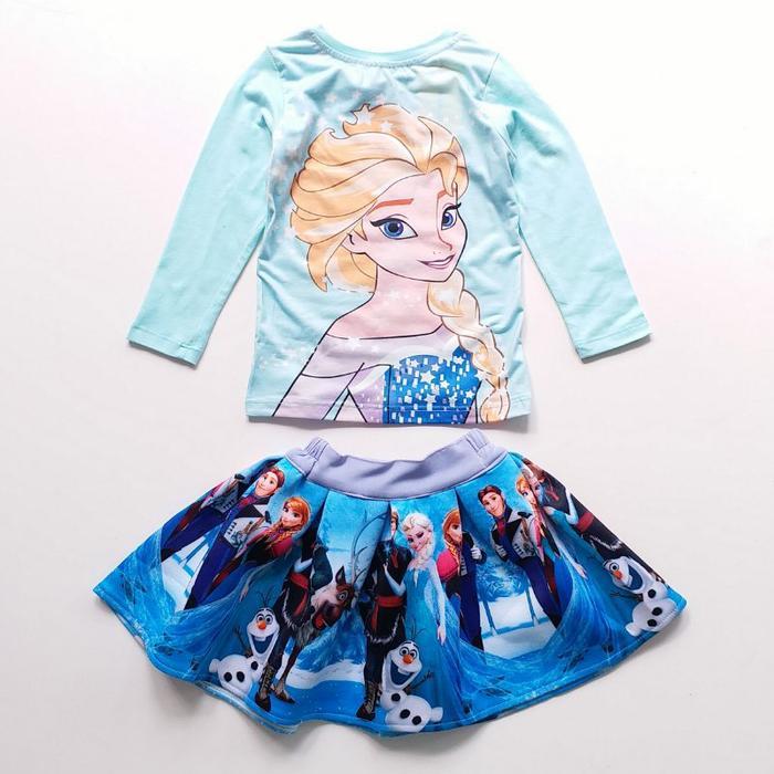 New  Baju Setelan Anak Perempuan JW 25 I Kaos Rok Scuba Elsa Frozen Biru