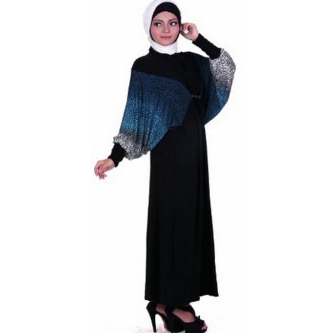 BAJU GAMIS / MUSLIM WANITA JERSEY HITAM KOMBINASI GAREU BHJ 0127  KDLGFHJAS