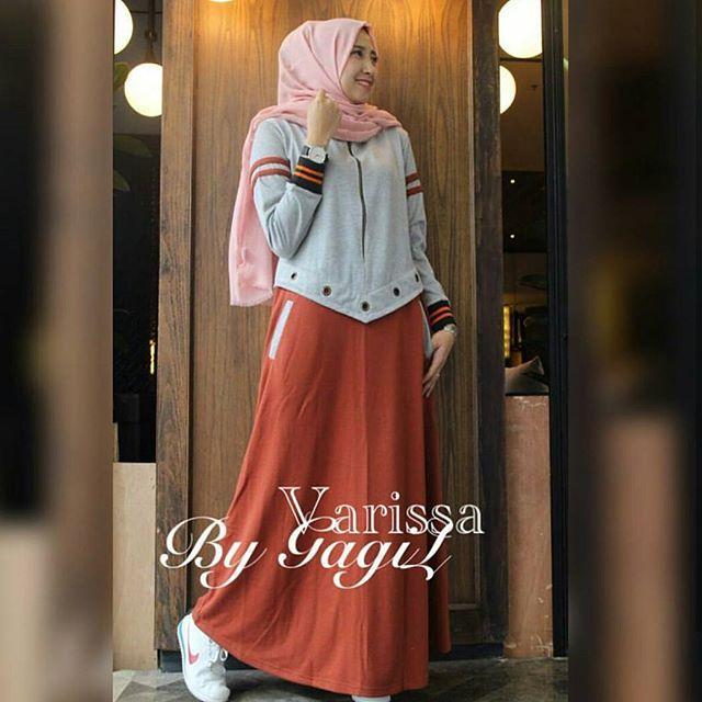 Baju Muslim Original Varissa Dress Babyterry Mix Balotelly Gamis Panjang Hijab Casual Pakaian Wanita Terbaru Tahun 2018