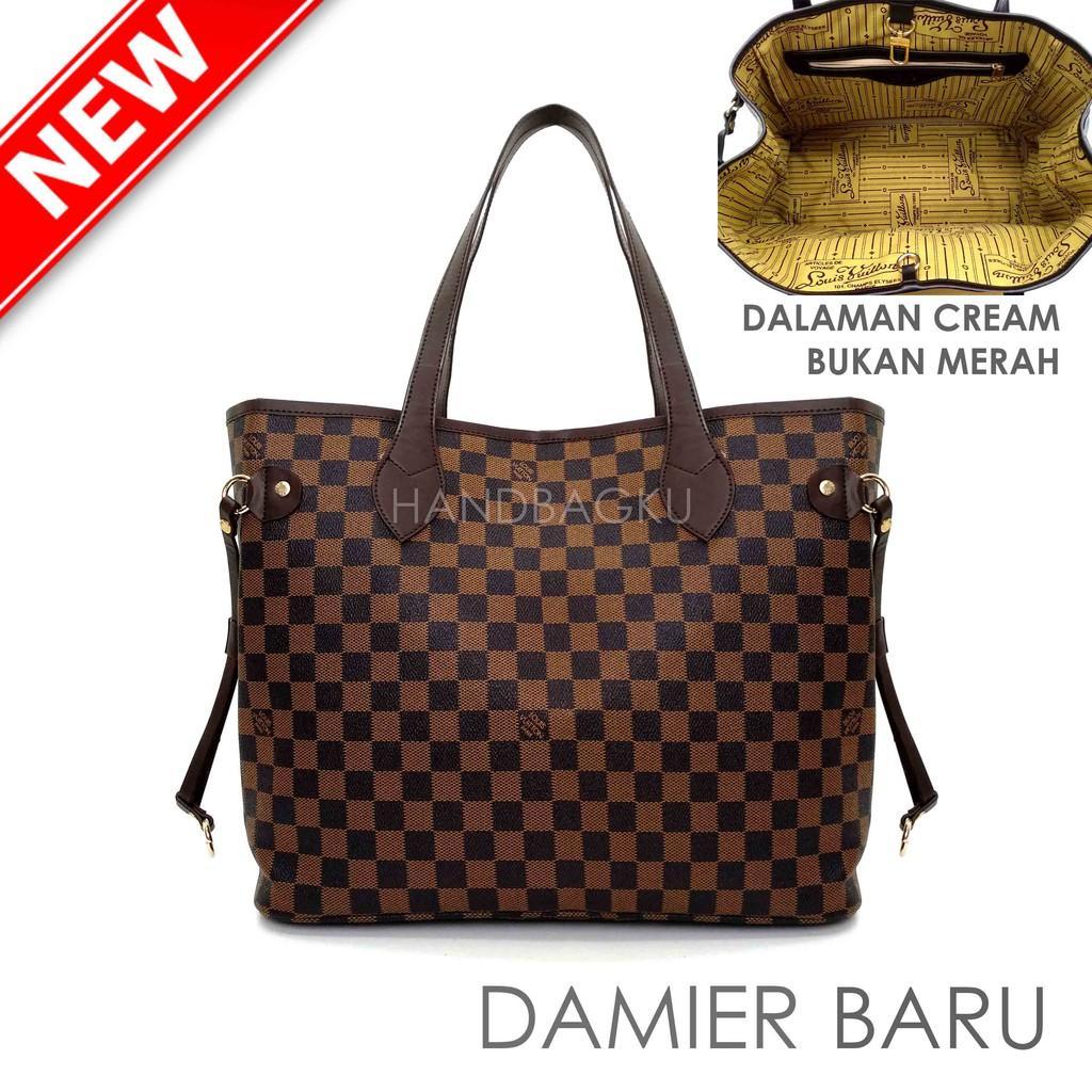 HANDBAGKU TAS LV NEVERFULL DAMIER GROSIR Fashion Wanita Branded import Batam Murah Tote Bag
