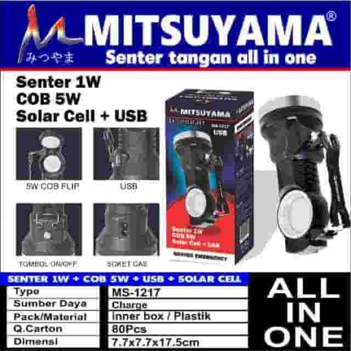 Senter Emergency + COB + USB + Solar Cell All In One Mitsuyama MS-1217