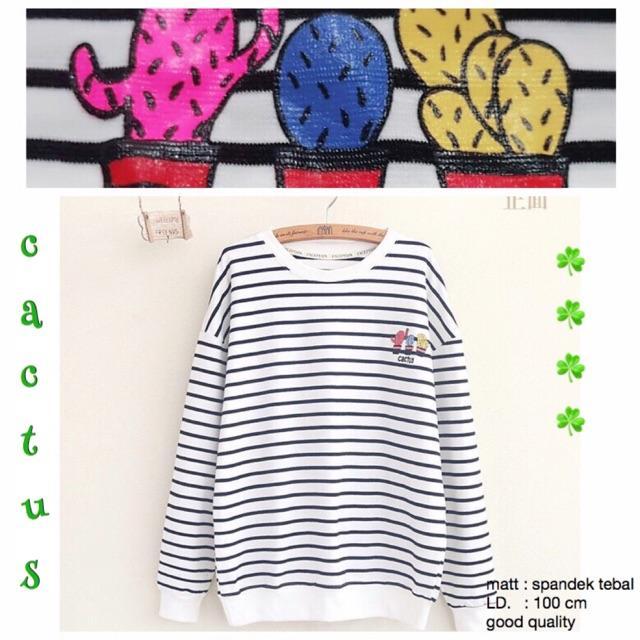 DAMAI FASHION JAKARTA - baju atasan sweater wanita CACTUS stripe - konveksi baju murah tanah abang
