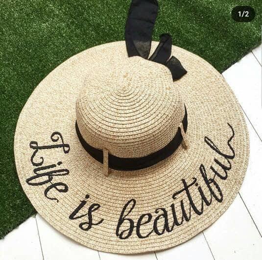 topi pantai bisa di bordir nama