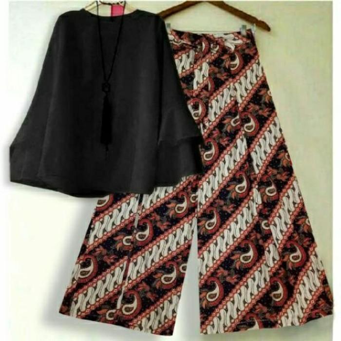 (JNH Shop)  Setelan Blouse Baloteli Black Xl Celana Kulot Batik Hitam Modern 10 TA