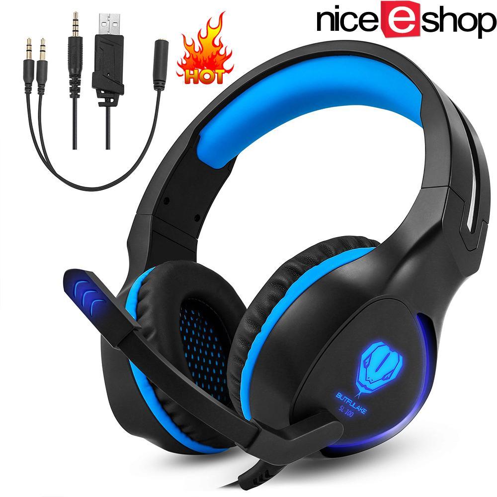 NiceEshop 3.5mm Headset Headphone Gaming Headphone Earphone Headband dengan Mikrofon LED Light untuk Tablet Laptop Ponsel Ponsel atau PS4 XBOX ONE, Biru-Intl