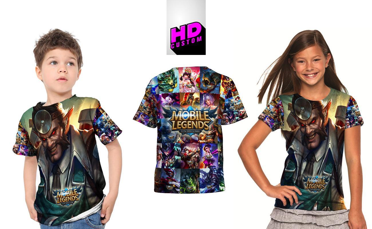 Kaos Baju Anak Fullprint Custom New Mobile Legends Roger Dr.Beast
