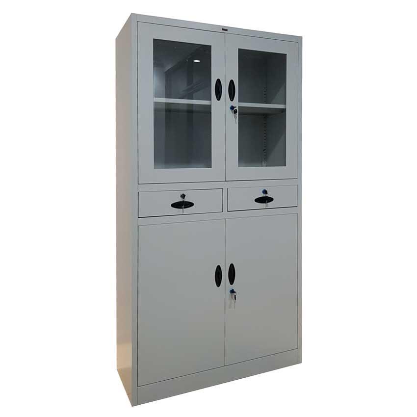 Lemari Arsip Besi Laci kantor Swing Door pintu kaca - Light Grey Khusus Jabodetabek
