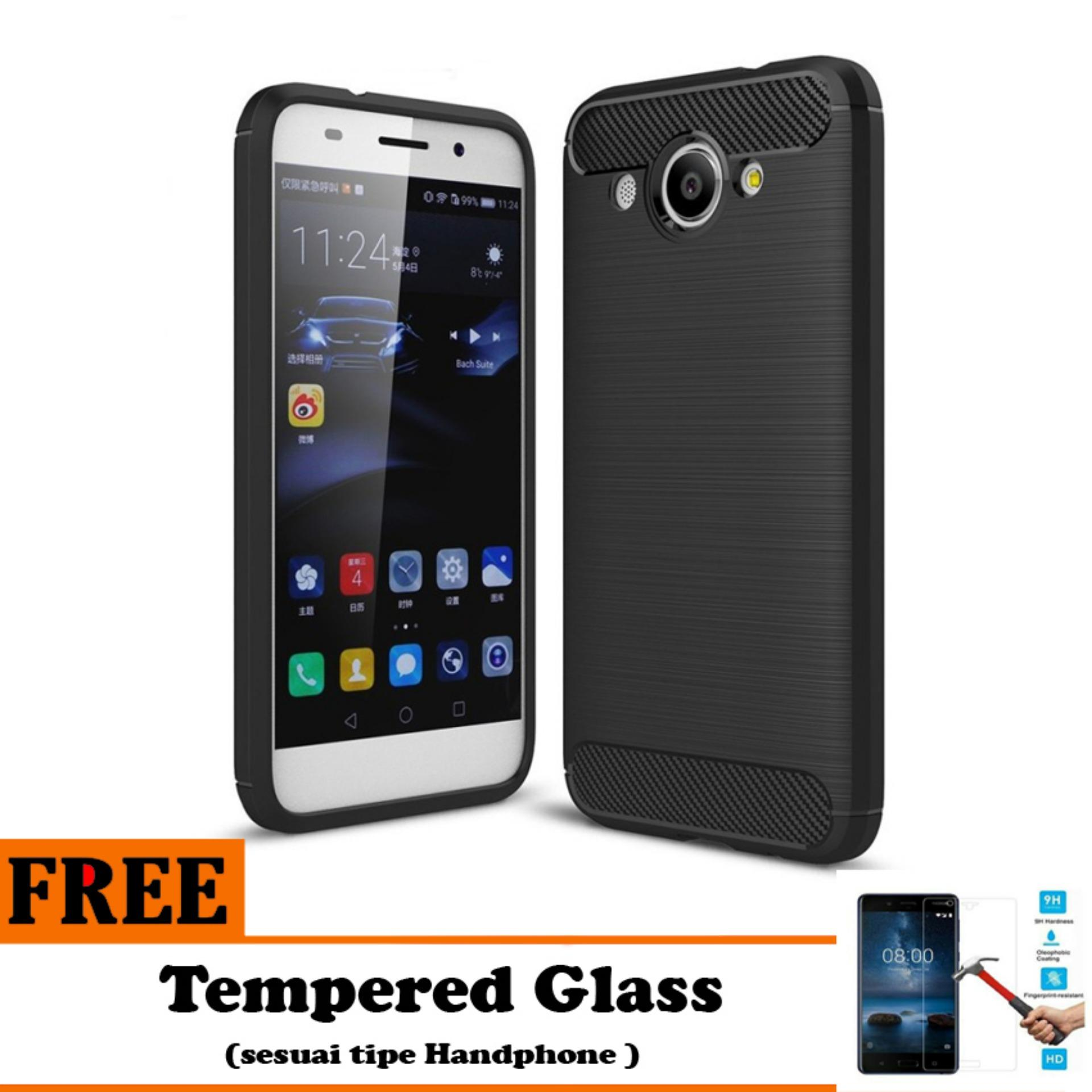 Softcase Ipaky Shockproof Matte Black karbon untuk Huawei Y3 2017   - Free Tempered Glass