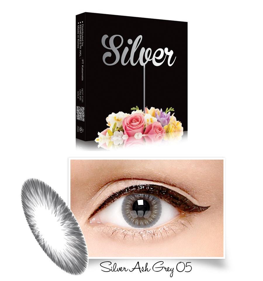 Exoticon X2 Ice Silver Softlens - 05 Silver Ash Gray + Gratis Lenscase
