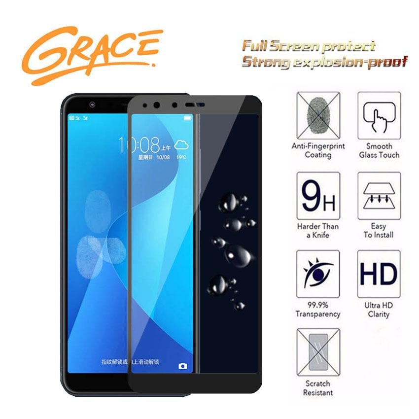 Grace Asus Zenfone Max Plus M1 / ZB570TL - 2.5D Full Screen Tempered Glass - Lis Hitam