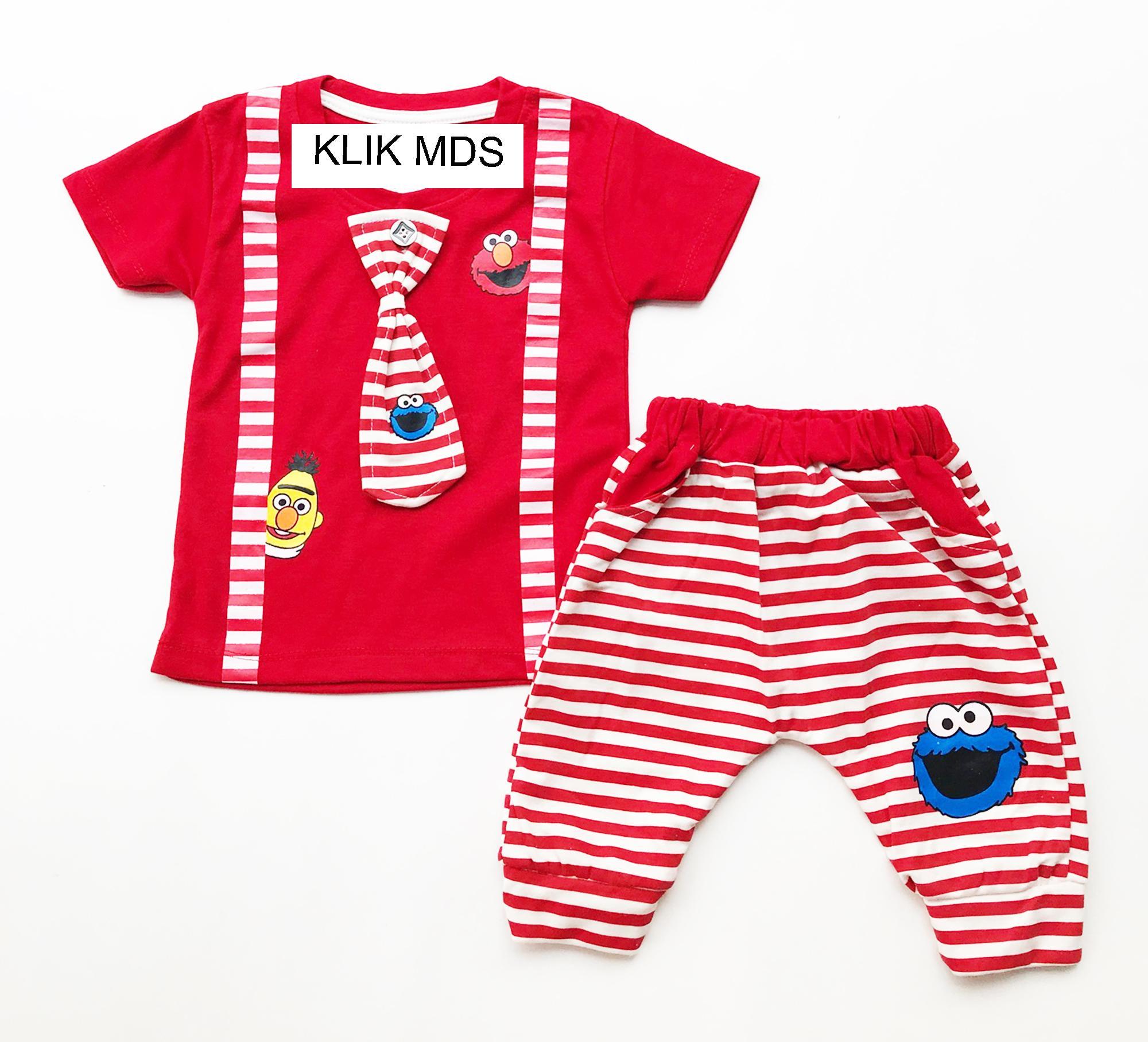 Klik Mds Baju Anak Bayi Lelaki Setelan Atasan dan Celana Motif Karakter ELMO