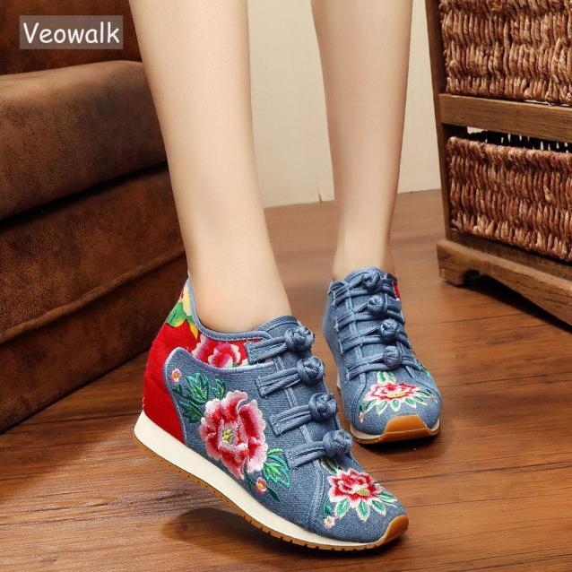 Giày Lười Thêu Hoa Cho Nữ, Giày Thể Thao Đế Bằng, Thoải Mái, Phong Cách Trung Quốc giá rẻ