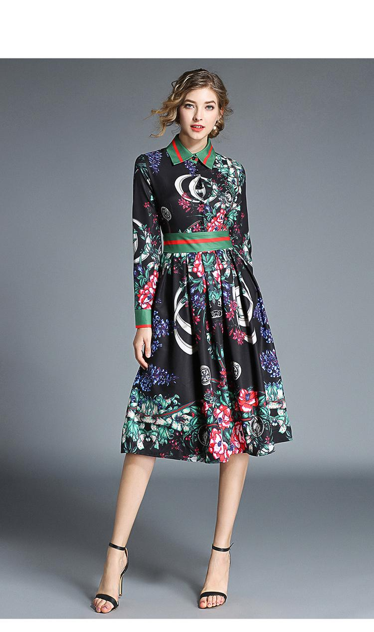731323dfe0 Spesifikasi dari Elegant Runway Designer Vintage Shirt Women Office Casual  Long Sleeve Beach Dress 2018 Autumn Fashion Wild Print Dresses Vestido