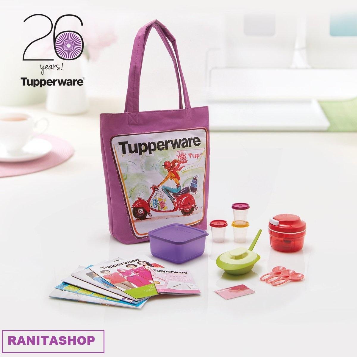 Tupperware Member Kitbag ( Turbo Chopper + Sambal Dish + Small Summer Fresh + Midget + small spoon + Tas )