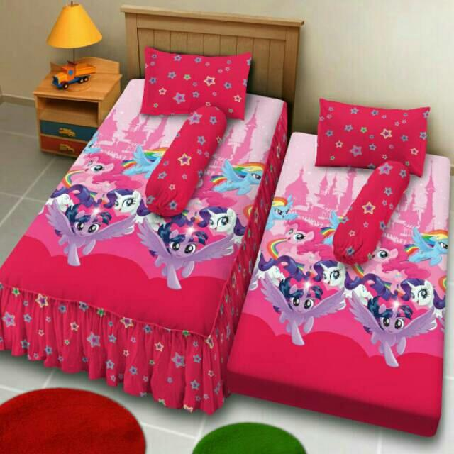 Sprei 2 in 1 Dluxe Kintakun size 120x200 / bed dorong anak / kingdom of pony