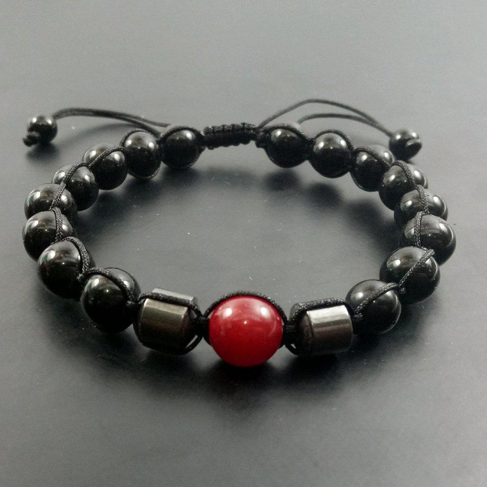 TERBARU Gelang Tali Kombinasi Black Onix Hematite Dan Giok Merah Model Tali Shambala Keren Hanya Ada Disini