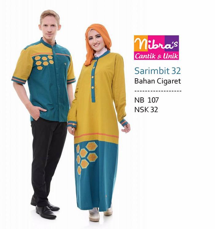 Baju Muslim Couple Nibras Sarimbit 32 Bhan Cigaret Kuning-Toska Bordir