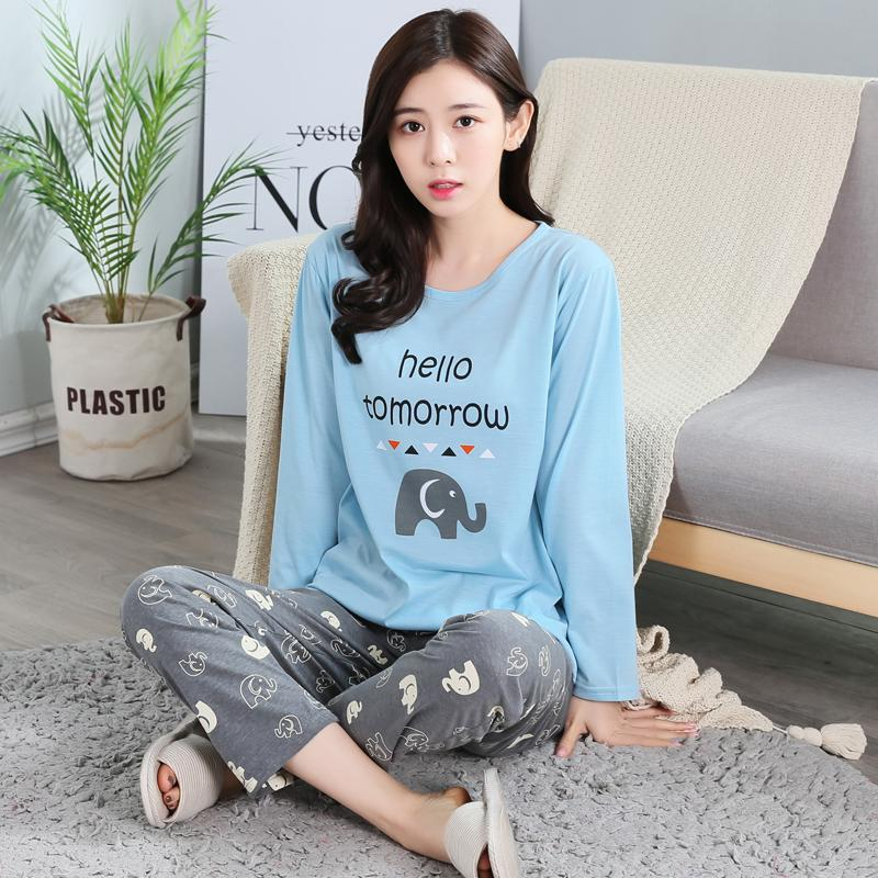 50ef4c218d Pajamas women Spring And Autumn Pure Cotton Long Sleeve Thin Korean Style  Fresh Students Sweet Cute