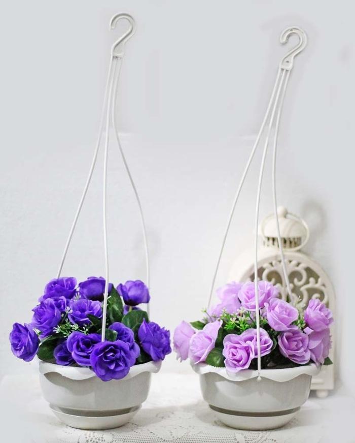 1 SET ISI 2 bunga plastik hias artifisial mawar + pot gantung shabby 4 - GoyTvJ