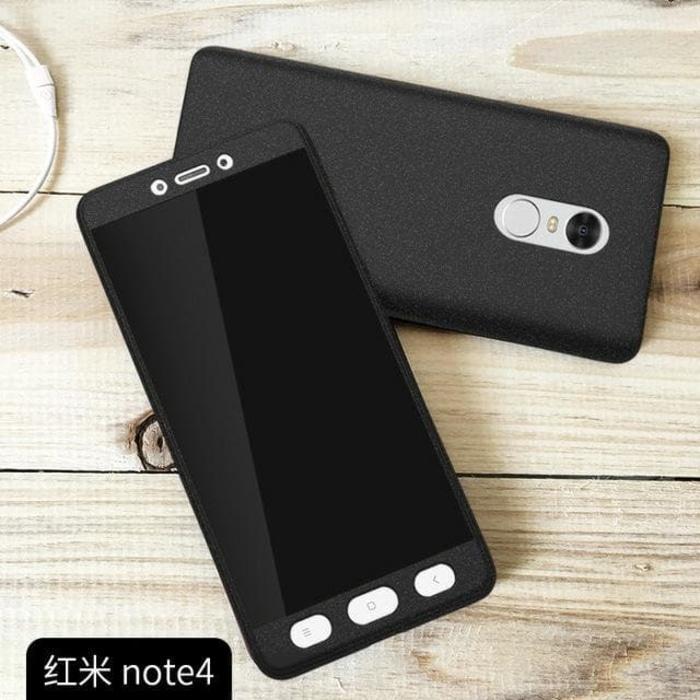 Hardcase Case 360 Xiaomi Redmi Note 4X SNAPDRAGON Casing Free Tempered Glass - HITAM