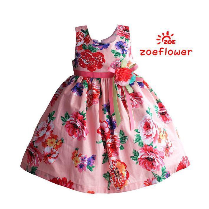 PROMO SALE DRESS ANAK IMPORT - ZOE FLOWER ZF 406  FZ001XO