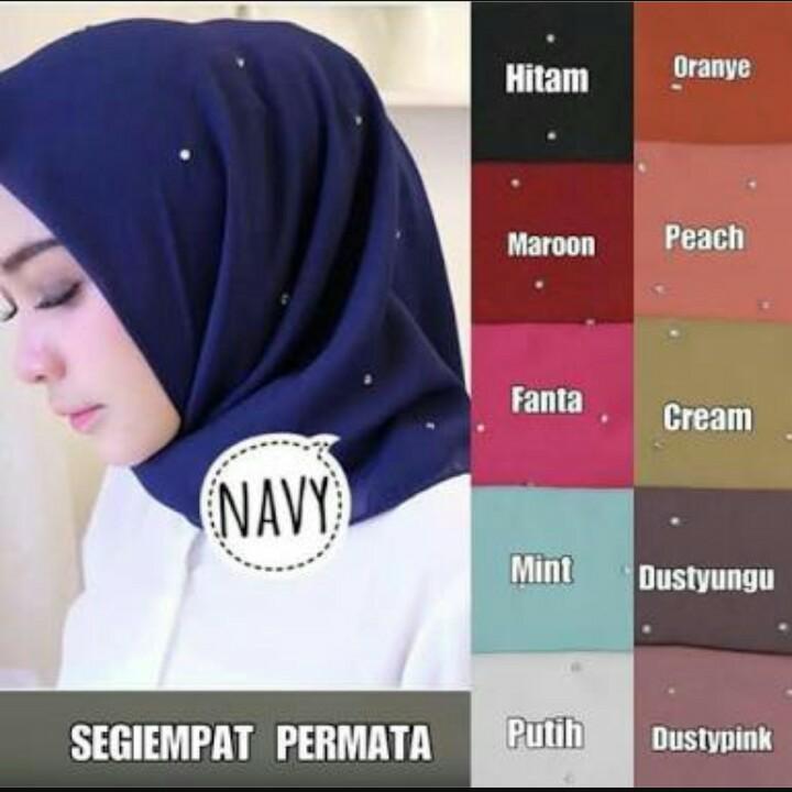 Hijab Segi Empat Mutiara/ Jilbab Segi Empat Mutiara / Kerudung Segi Empat Mutiara /Hijab Segi Empat polos Mutiara - IRD