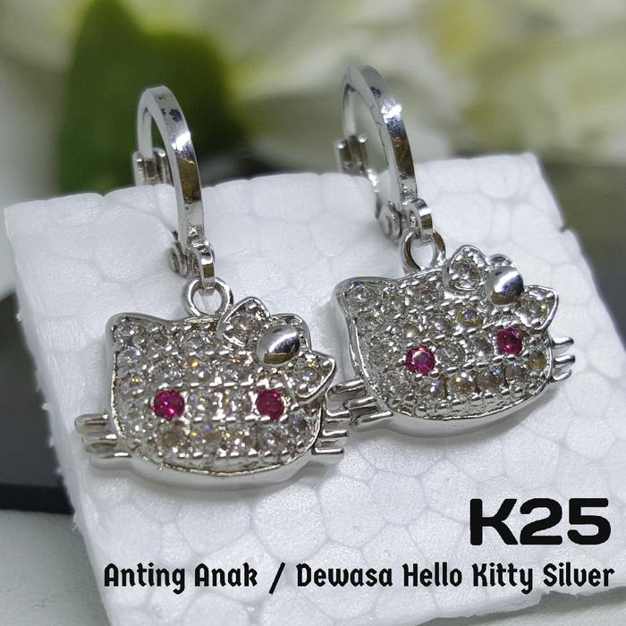 K25 Anting Hello Kitty Permata Silver - Perhiasan Imitasi Xuping Emas