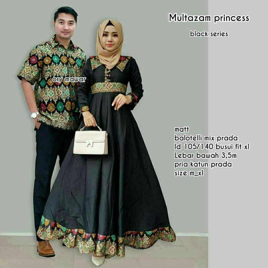 TERMURAH - Baju batik couple - baju muslim wanita terbaru 2018 - kebaya coupel Modern - Couple Batik - Batik Sarimbit - Batik Kondangan - Baju batik Multazam Princes Hitam