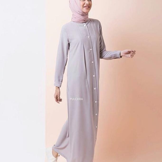 Nafa Maxy Light Grey / Daily Dress Gamis Sehari Hari Simple Busui  Ghtsyh