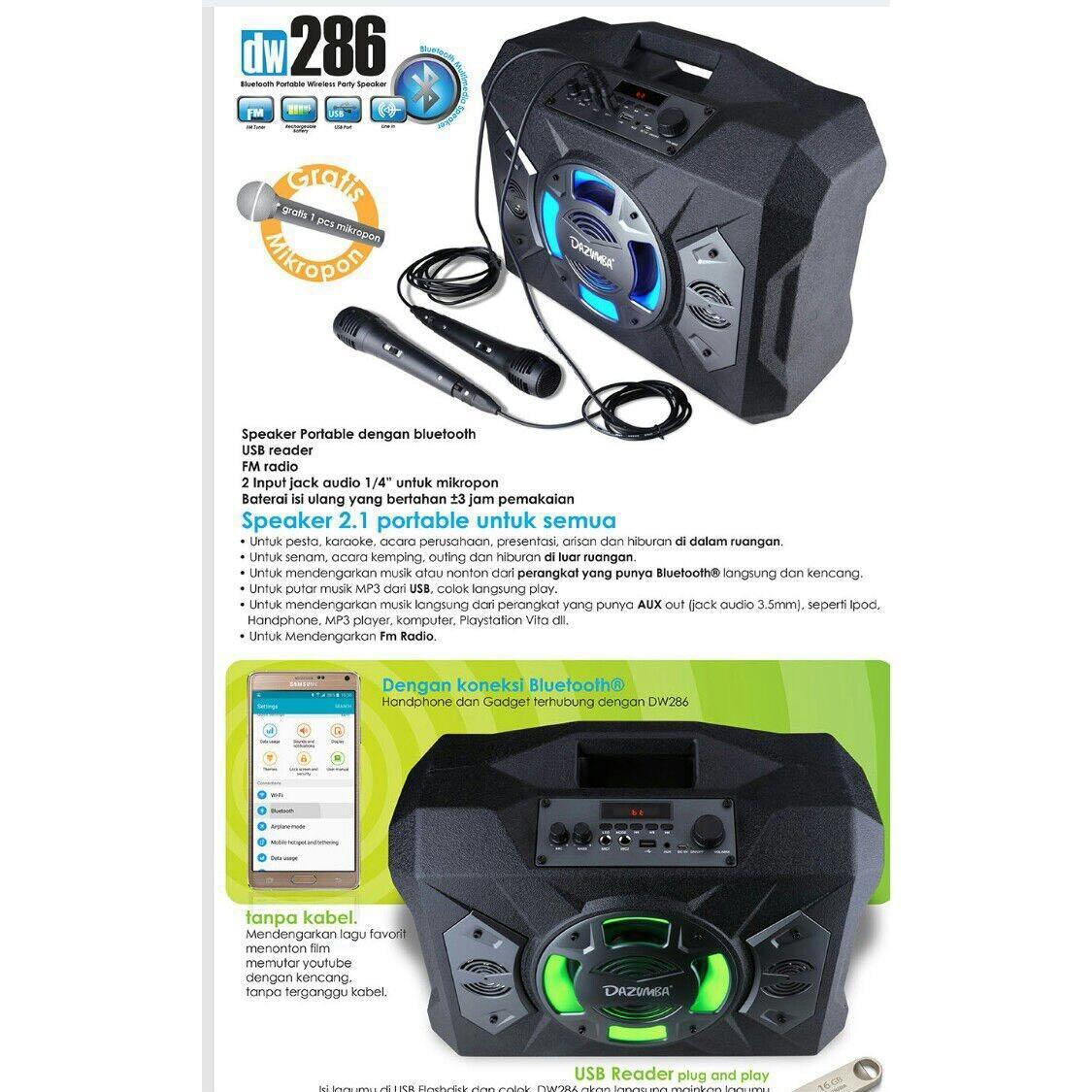 Detail Gambar Speaker Portable Dazumba Dw 286 Superr Bass Bluetooth Karaoke + Free Microphone Terbaru