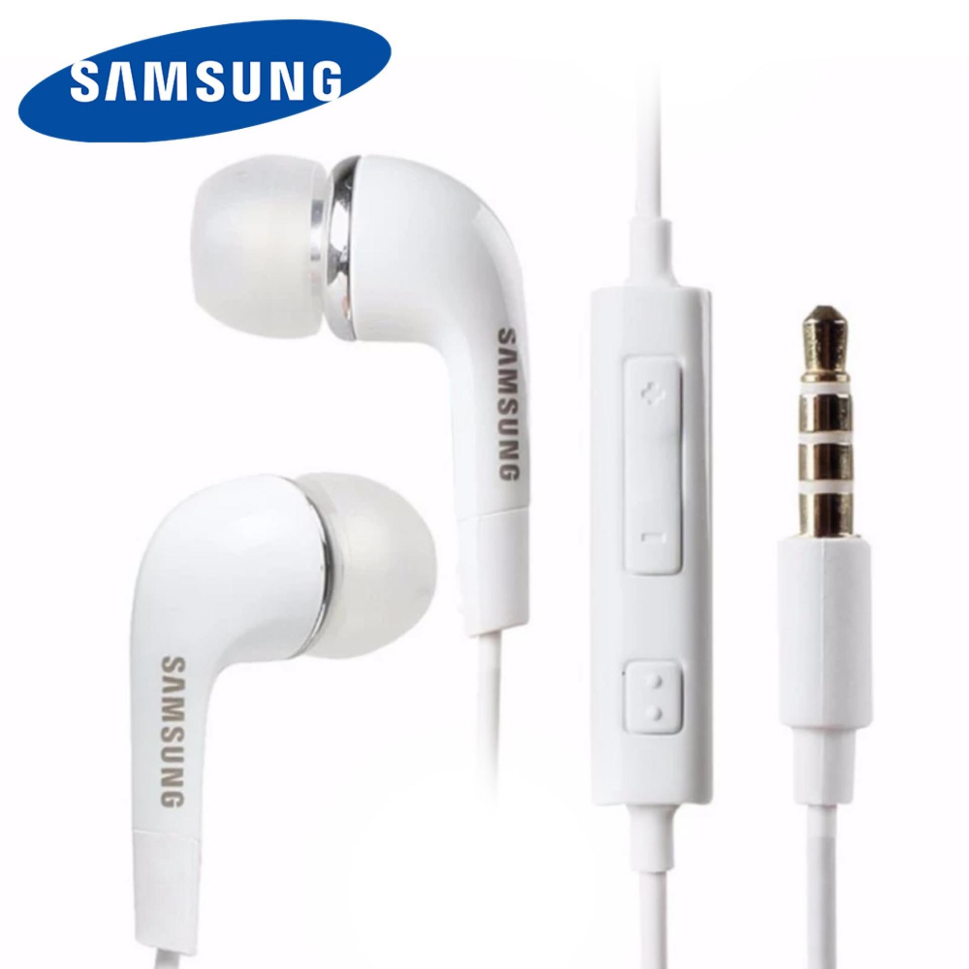 Headset Samsung Galaxy J1 Ace Stereo Headset Flat Cable High Quality 3.5mm Jack Audio - Putih