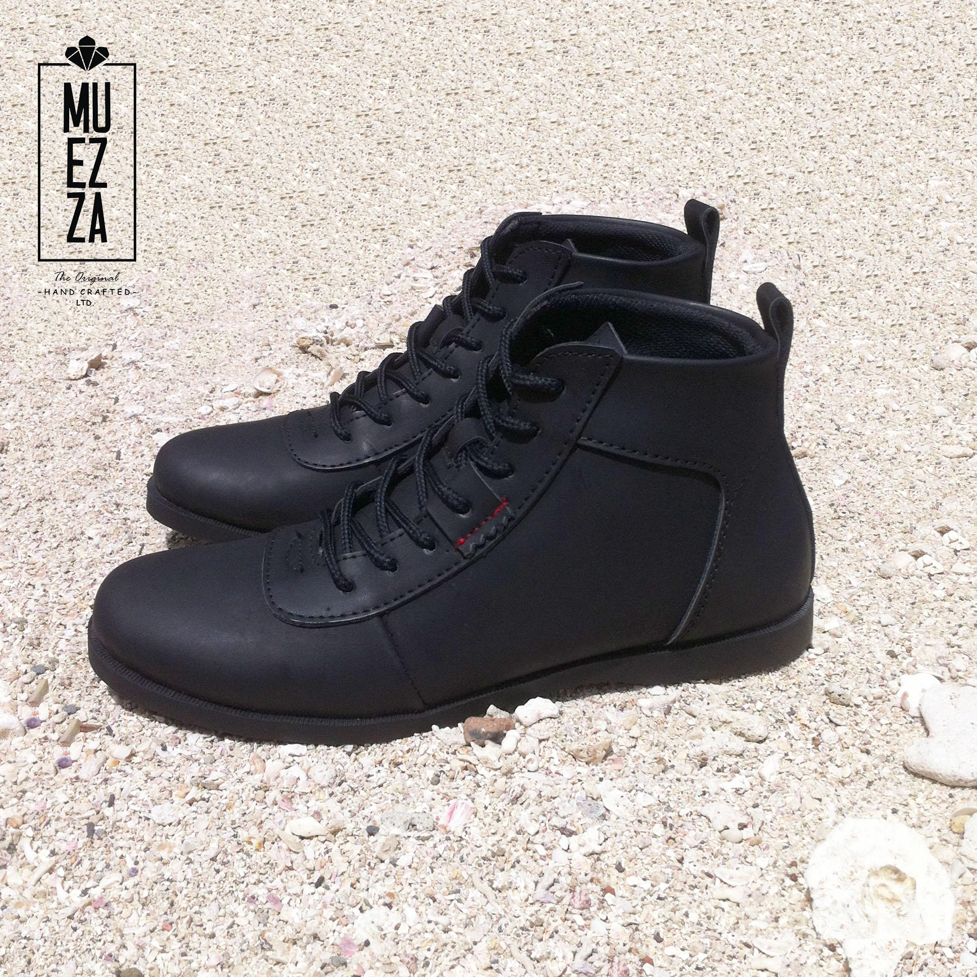 Sepatu Brodo / Sepatu Boot Bikers Muezza Lambador Touring Bandit Black Leather