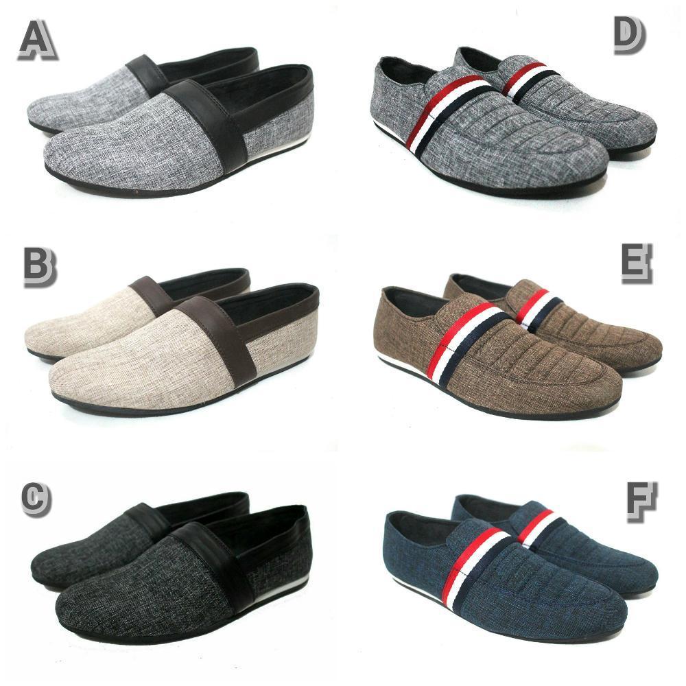 Promo sepatu pria slop slip on santai casual kerja kuliah sandal sendal pantofel pdh vans converse skechers  Fashion
