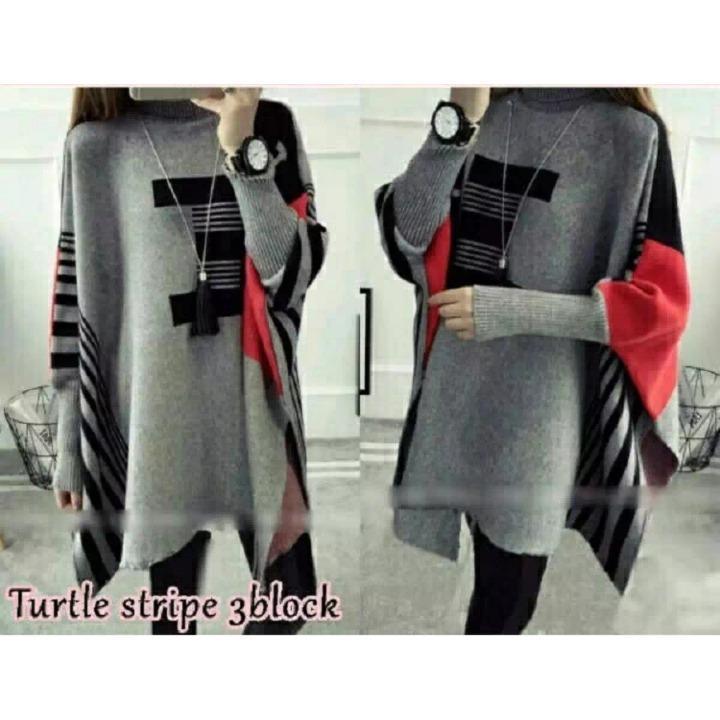 Sweater Stripe 3 Blok / Kaos Panjang / Baju Lengan Panjang / Sweater Wanita / Sweatshirt Wanita / Baju Hangat Wanita / Outer Wanita / Bigsize Sweater / Blouse Big Size / Blouse Jumbo