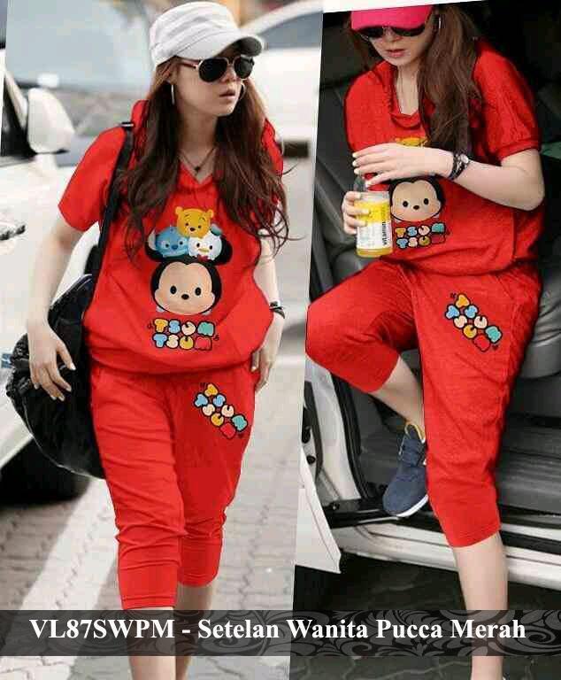 Vlovi setelan Kaos pendek wanita korea murah baju karakter tsum tsum baru VL87SWPM Pucca Merah