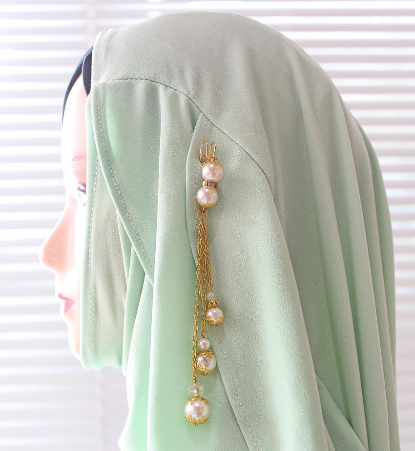 Nafiza - Bros Jurai/Dagu Hijab Kristal Aira Zahara Putih