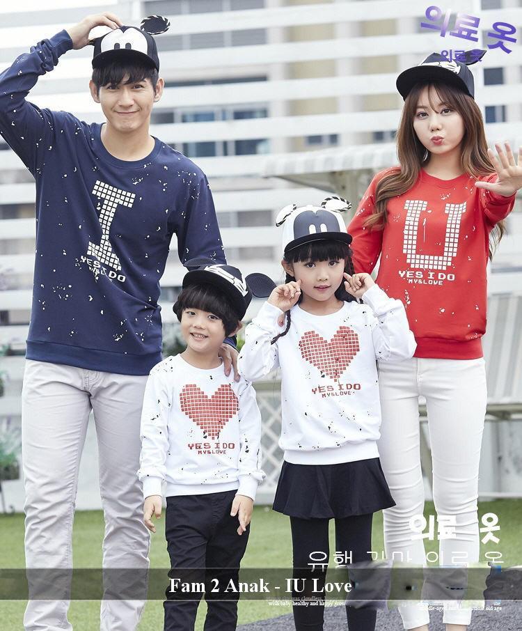 FamilyCouple Kaos Keluarga Lengan Panjang Baju Family Simple IU Love