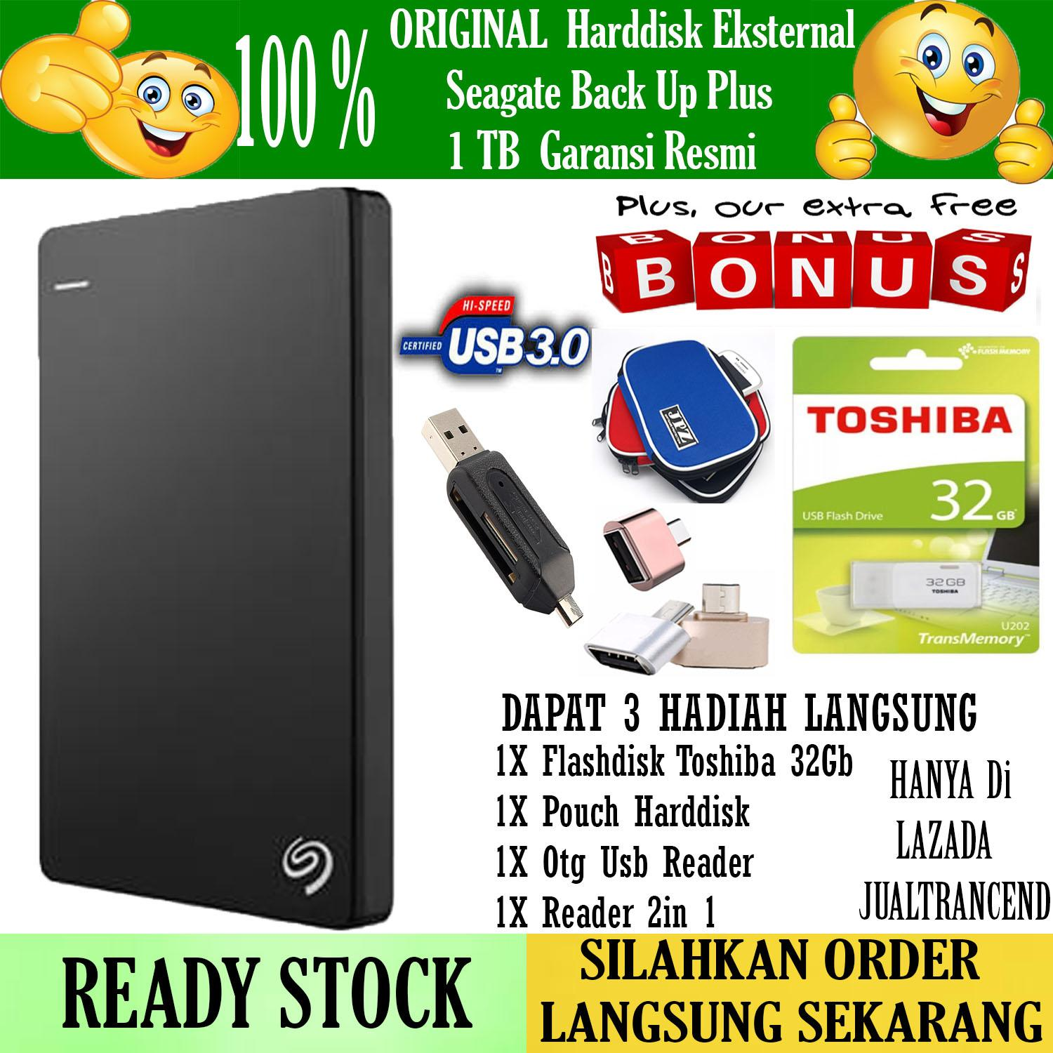 Seagate Backup Plus Slim 1TB - HDD - HD - Hardisk External 2.5 - Hitam + Gratis  Flashdisk 32Gb Toshiba 2.0 + Pouch Harddisk + Usb Otg Android + Reader 2in 1