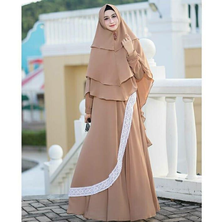 Baju Original Zavania Syari + Khimar Mix Renda  Gamis Panjang Wanita Muslim Pakaian Cewek Gaun Muslimah Hijab Terbaru