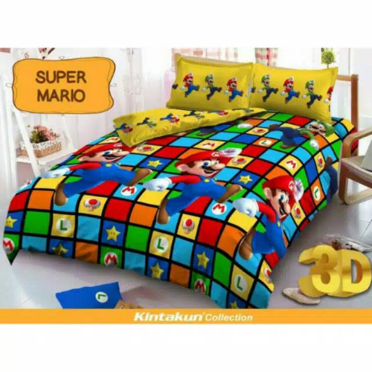 Sprei Murahn Bedcover Dluxe Kintakun Ukuran 180 X 200 Pisano Cek 120 Single Uk180 Motif Super Mario