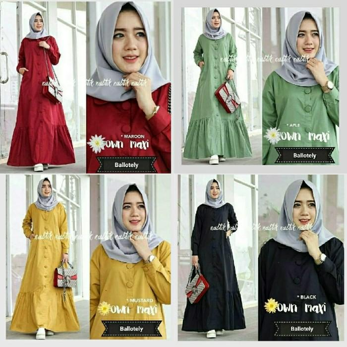 (JNH Shop)  Baju Muslim Gamis Remaja Maxi Own Dress Trendy Baloteli Bagus Murah GL