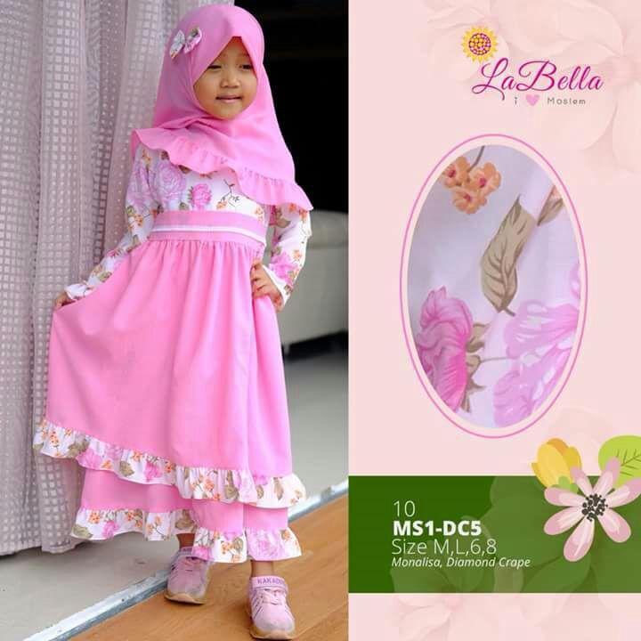 Gamis Anak 3-7th LaBella Monalisa Diamond Crepe 2layer Pink