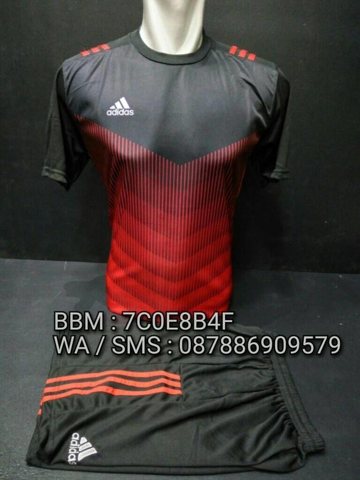 Baju Setelan Futsal Adidas #AD06 Hitam - Merah - T5BhAJ