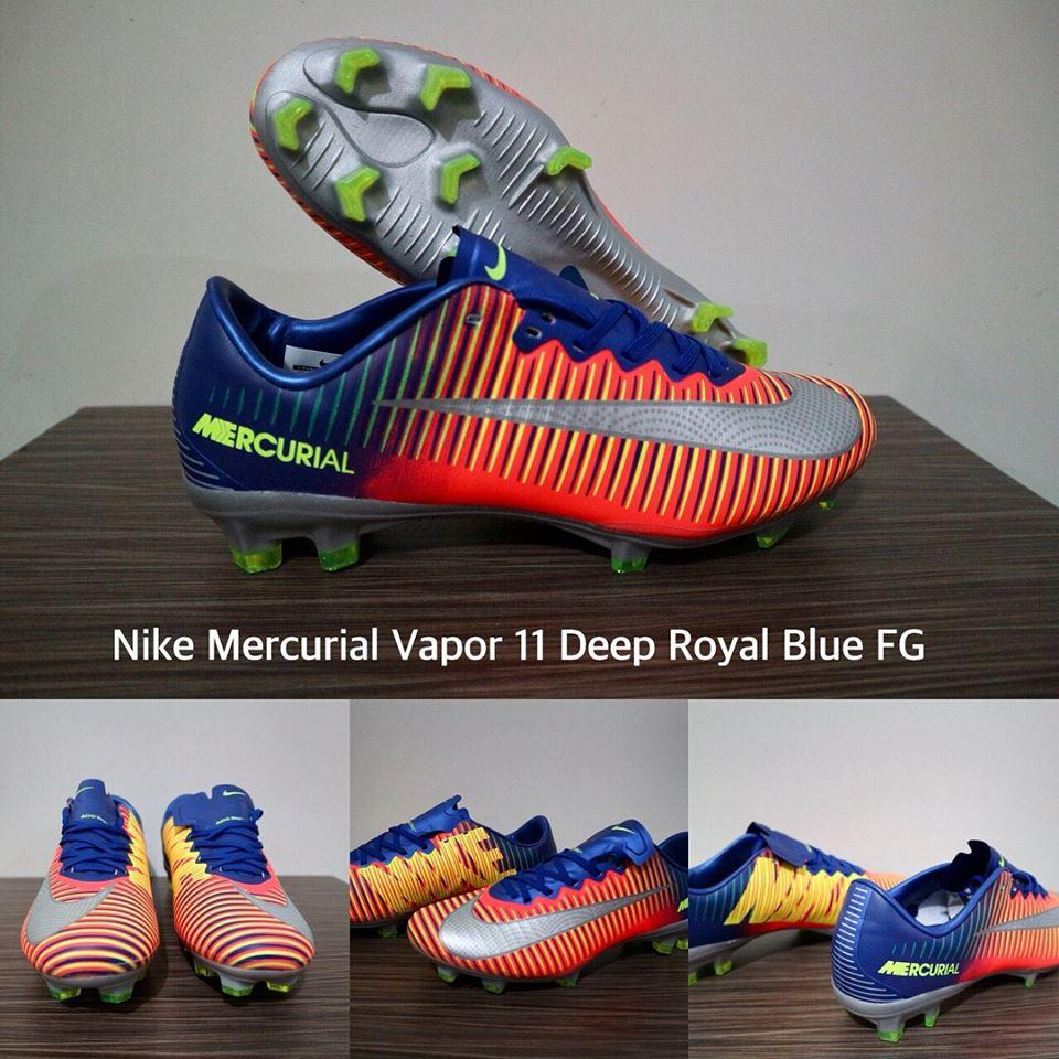 SEPATU BOLA NIKE MERCURIAL VAPOR 11 DEEP ROYAL BLUE FG + GRADE PREMIUM + BOX ORIGINAL !