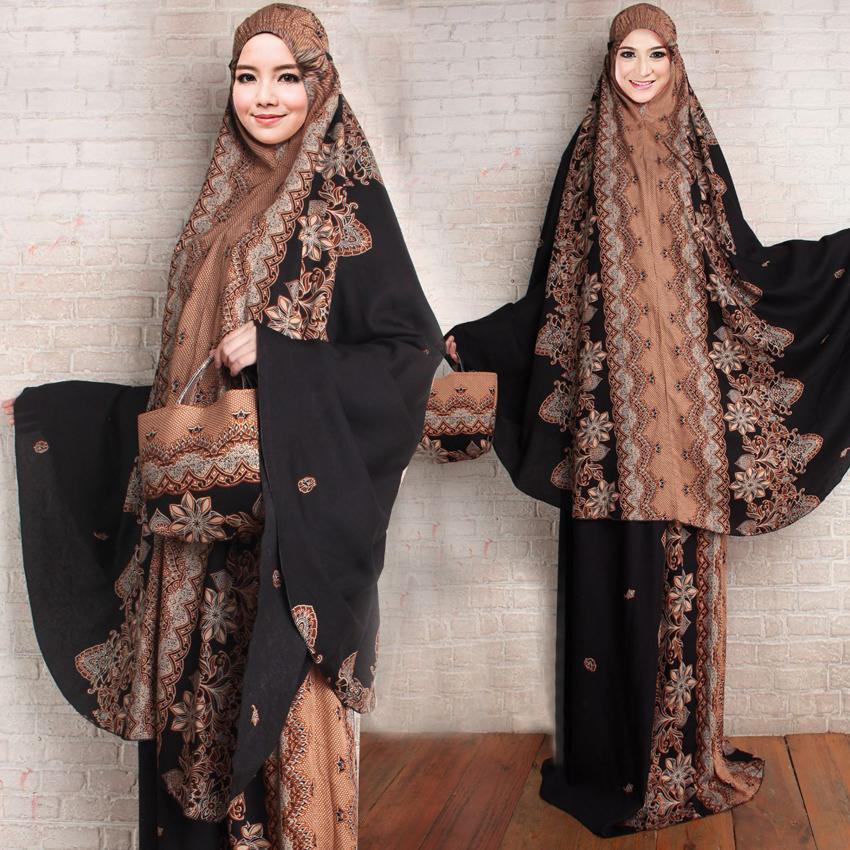 Jessica Fashion Mukena Katun Bali Dewasa Batik Jasmin Jogja - Hitam 1 - Best Seller