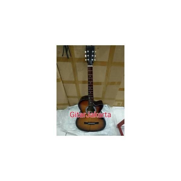 Gitar Akustik Yamaha Warna Sunburst Coklat Murah Buat Pemula Belajar